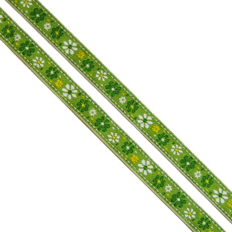 Ruban Petites Fleurs Vert