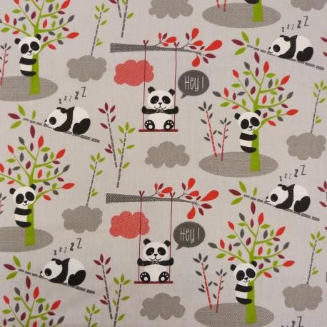 tissu panda gris les tissus d 39 isa mibel sarl. Black Bedroom Furniture Sets. Home Design Ideas