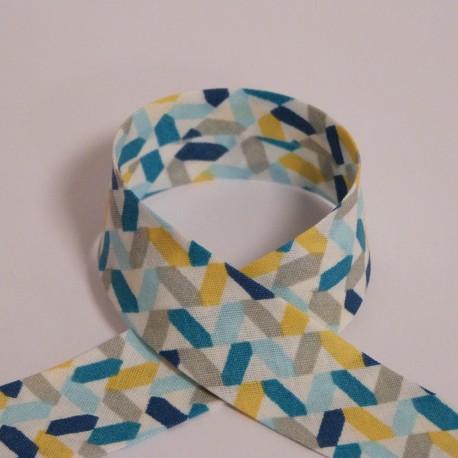 Biais Zig-zag bleu