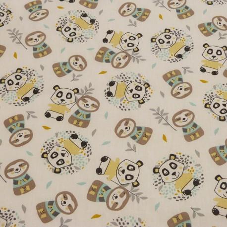 Tissu Panda Woni Bleu